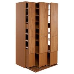 本格派 スライド収納書棚 幅広2列+幅狭1列 幅98cm 商品イメージ:(イ)ナチュラル オープン時(右向き)…組立時にワゴンの向きを選べます。