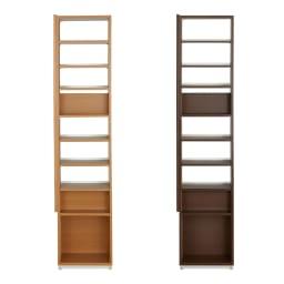 本格派 スライド収納書棚 幅広2列+幅狭1列 幅98cm 引出し(収納部)アップ…左から(イ)ナチュラル(ア)ブラウン