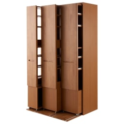 本格派 スライド収納書棚 幅広2列+幅狭1列 幅98cm 商品イメージ:(イ)ナチュラル オープン時(左向き)…組立時にワゴンの向きを選べます。