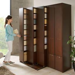 本格派 スライド収納書棚 幅広 2列 幅73cm 使用イメージ:(ア)ブラウン