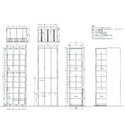 本格派 スライド収納書棚 AV収納庫 3列 幅64cm(コミック・文庫本・CD・DVD対応) 【詳細図】