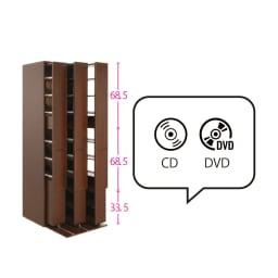 本格派 スライド収納書棚 AV収納庫 3列 幅64cm(コミック・文庫本・CD・DVD対応) CDやDVDなどのAV収納、または文庫やコミックといった本の収納にも。 ※赤文字は内寸(単位:cm)
