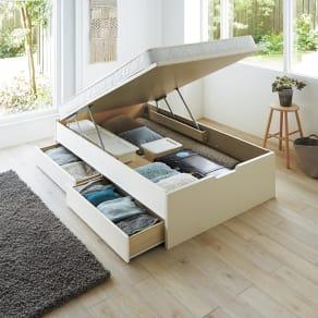 【シングル・西川ポケットマットレス付き】大容量引き出し&ガス圧跳ね上げ収納ベッド 写真