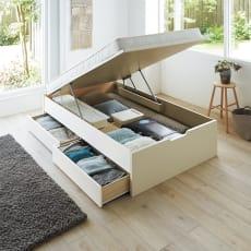 【シングル・西川ポケットマットレス付き】大容量引き出し&ガス圧跳ね上げ収納ベッド