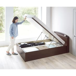 【セミダブル】ガス圧跳ね上げベッド(西川ベッドポケットコイルマットレス付き) 棚付き 写真