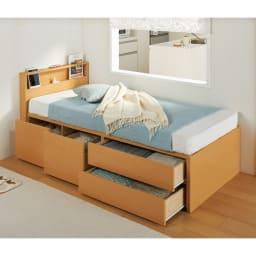 西川マットレス付き棚付省スペースベッド(ショート/レギュラー) (ア)ナチュラル ※写真はショート・幅86cmです。