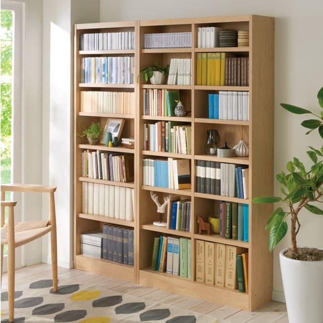 棚板の位置が選べる本棚(幅90cm本体高さ180cm) 使用イメージ:(イ)ナチュラル ※お届けの商品は右側の幅90cmタイプです。
