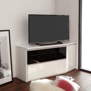 住宅事情を考えたコーナーテレビ台 ハイタイプ 幅123.5cm・ 右コーナー用(右側壁用) 写真