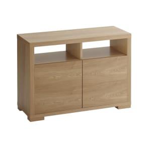 ナラ天然木化粧合板 テクスチャーテレビ台キャビネット 幅98cm 写真