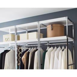 Lenato(レナート) ハンガーラック 幅62cm 上棚は30cmの内寸高さがあるので収納ケースや収納ボックスが入ります。
