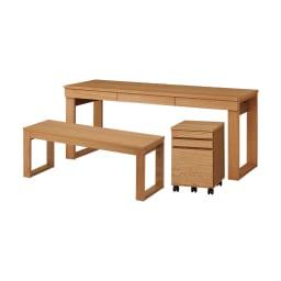 オーク天然木カフェ風ベンチ 幅119cm チェスト(別売り)とベンチ(別売り)も一緒に収納できます。