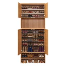 靴が出し入れしやすい下段オープンシューズボックス 飾り棚ハイ・幅75.5cm 収納イメージ(※お届けの色とは異なります)