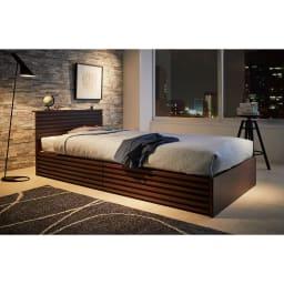 ウォルナット格子調ベッド フレームのみ ショート丈(長さ194cm) ※販売はフレームのみです。