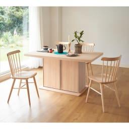 Portale/ポルターレ 収納庫付きテーブル 幅140cm コーディネート例 (イ)ナチュラル ウインザースタイルのチェアを合わせてみても