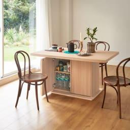 Portale/ポルターレ 収納庫付きテーブル 幅140cm コーディネート例 (イ)ナチュラル 違う色のチェアでも合わせられます