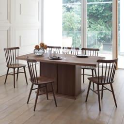 Portale/ポルターレ 収納庫付きテーブル 幅140cm コーディネート例 (ア)ダークブラウン