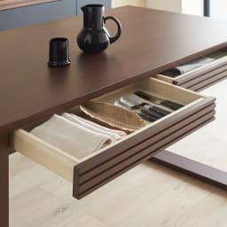 Gulf/ガルフ 引き出し付きダイニングテーブル 幅140cm 両側の引き出しには、個人使いのカトラリーや調味料を。