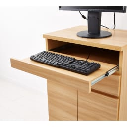 ナチュラルモダンPCデスク 幅90cm スライドテーブルはキーボードの収納にもお使い頂けます。