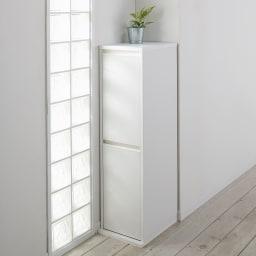 静かに閉まる家具調 分別タワーダストボックス 2分別 表面材はクリーンイーゴスなので汚れが簡単に落とせます。