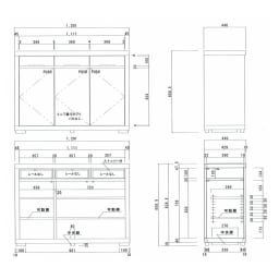 Aterre(アテール) PCデスクシリーズ キャビネット 幅120.5cm 内寸図(cm)