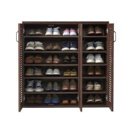 省スペースで快適なルーバー扉シューズボックス(幅90、高さ90cm) 約24足靴が収納できます。