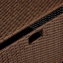 前後どちらからでも引き出せるラタン調ランドリーワゴン 3段 高さ110cm ブラウンは本物のラタンのようなかすれた風合い。