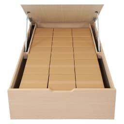 深型ガス圧式跳ね上げベッド レギュラー 「33×33×32cm」サイズのダンボール箱だと、15個入る大容量の収納です。(※セミダブル/レギュラーサイズの場合) これはもうまさに「トランクルーム」!