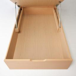 深型ガス圧式跳ね上げベッド レギュラー 収納部内寸高さ39cm。スーツケースや長尺物もすっぽり。