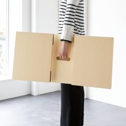 レザー調リビングテーブル 幅89 脚部は折りたため、天板裏に手掛けがあるので持ち運びも簡単。
