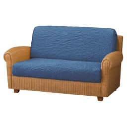 イタリア製カバー〈チェニリア〉座面・背もたれ兼用カバー(1枚) 1~1.5人用(幅約40~80cm) (オ)ブルー ※写真は2人掛用を2枚使用。