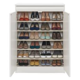 使う時だけ引き出せる!荷物のチョイ置きに便利なスライドテーブル付きシューズボックス 幅80高さ110cm (イ)ホワイト 収納目安:約24足