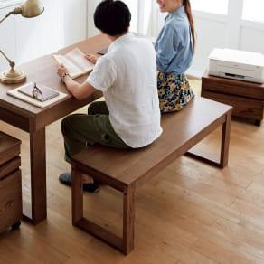 オーク天然木カフェ風ベンチ 幅119cm 写真