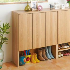 靴が出し入れしやすい下段オープンシューズボックス ミドル・幅90.5cm 写真