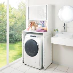 奥行たっぷりランドリーラック 幅75cm 奥行55cmで、隠してすっきり、収納力もたっぷりです。ドラム式洗濯機にもおススメの商品です。