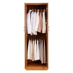 らくらく整理整頓できるワードローブ ハンガー2段 幅60cm (イ)ブラウン 洋服2段掛けで収納スッキリ