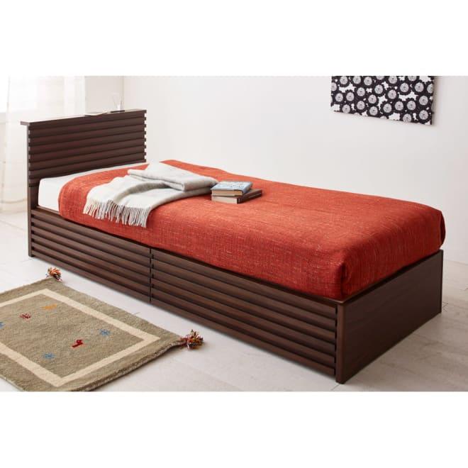 ウォルナット格子調ベッド フレームのみ ショート丈(長さ194cm) [コーディネート例] ※販売はフレームのみです。