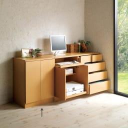 すっきりパソコン収納シリーズ 扉タイプ 幅60cm (ウ)ナチュラル ≪組合せ例≫ ※お届けは扉タイプ幅60です。