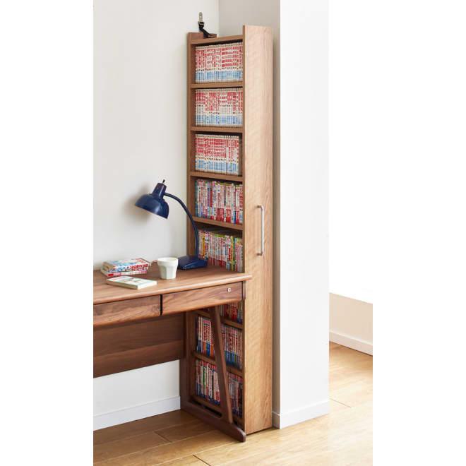 天然木調スライド式すき間収納本棚 コミック・文庫本タイプ 幅15.5cmの隙間に大量収納!