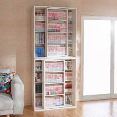 上下ともスライド本棚 幅90cm 機能充実大型本格スライド書棚