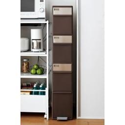 分別スウィングステーション(ダストボックス) 4段・ハイタイプ 色は選べるダークブラウンとホワイト。お好みに合わせてあなたのキッチンのすき間にジャストフィットします。