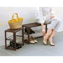 ラタン風玄関ベンチ 幅70cm (ア)ダークブラウン 玄関先での靴の脱ぎ履きに、重い荷物を持っているときの置き場所に。