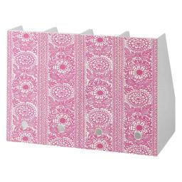 Finlayson/フィンレイソン 樹脂製ファイルケース4個組 ワイド (ア)タイミ(ピンク)