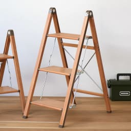 木目調アルミ製ワイドステップ 脚立3段