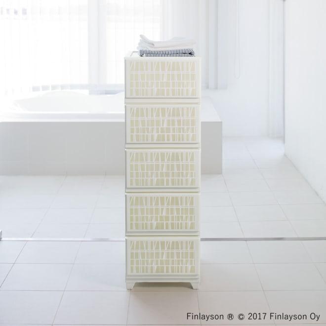 Finlayson/フィンレイソン 水に強い樹脂製多段チェスト スリム/ワイド (ウ)コロナ(ベージュ) 5段スリム