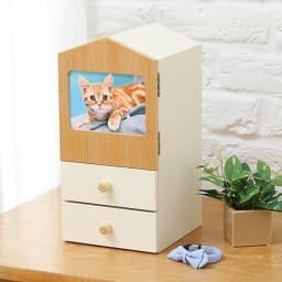 木製メモリアルボックス(オルゴール機能付き) 小 引出し2杯 扉部分にはペットの写真を入れられます。