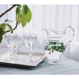 MARIOLUCA/マリオルカ 樹脂製のグラスシリーズ ピッチャー1個 コーディネート例 ※お届けはピッチャーです。