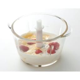ラッセルホブス ミニチョッパー 掲載レシピ 卵黄、ナマクリーム、イチゴ、牛乳などいれて攪拌させて・・
