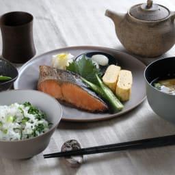 ARAS 中皿ウェーブ22cm 割れないお皿 使用例 お届けするのは鮭が載っているお皿です。