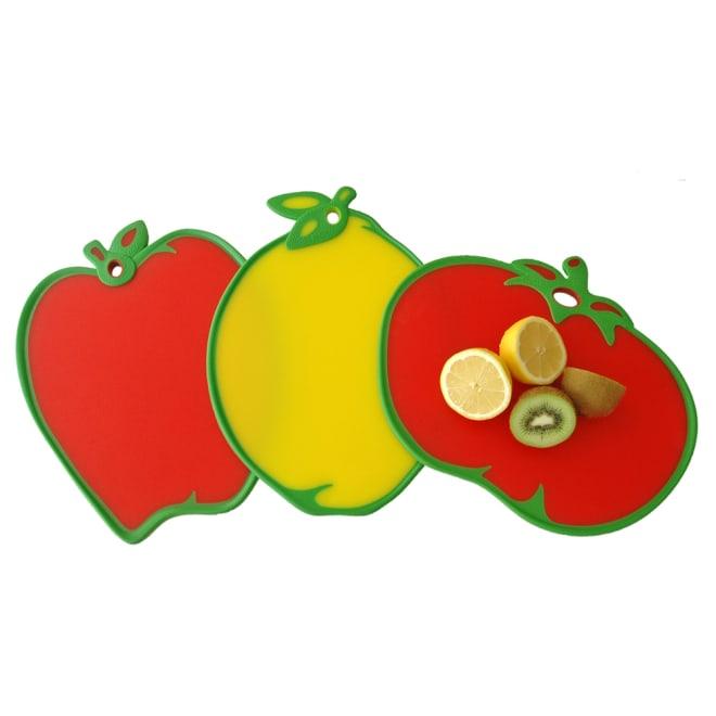 DEXAS カッティングボード フルーツ型のまな板 左からイ)リンゴ ウ)レモン ア)トマト