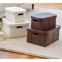 レザー調ボックス 大 1個 左から(イ)ホワイト (ア)ブラウン ※お届けは下段の大サイズ1個です。上に載っている小さいサイズは別売りです。